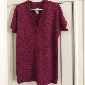 Short Sleeve V Neck Sweater